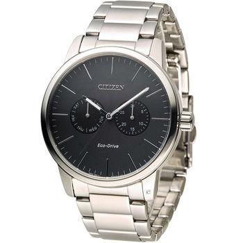 星辰 CITIZEN Eco Drive 光動能穩重風範時尚腕錶 AO9040-52E 黑