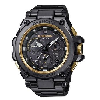 G-SHOCK 太陽能GPS昇華版無限伸展電波指針式霸氣腕錶-黑金版-MTG-G1000GB-1A