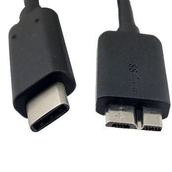 USB Type-C 轉 Micro-B 傳輸線(硬碟外接盒轉接孔)