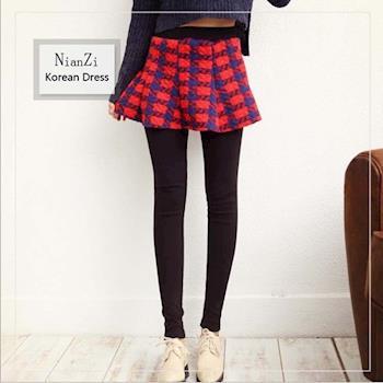 (現貨)Bubble❤CoCo 韓國時尚格紋百褶假兩件裙褲LB76