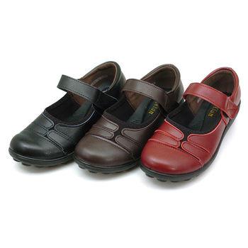 【cher美鞋】魔鬼氈彈力舒適休閒鞋 (黑 紅 棕3色)  D55-125