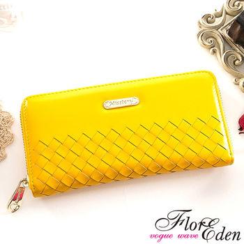 DF Flor Eden皮夾 - 巴黎簡約系列羊皮編織款單拉鍊長夾