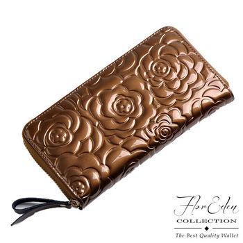 DF Flor Eden皮夾 - 奢華質感牛皮壓花紋單拉鍊長夾