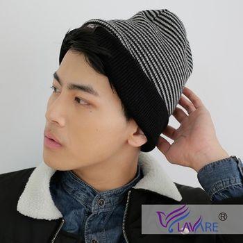LAVARE-雙面帽-條紋-灰