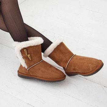 《DOOK》雪靴-經典牛角扣+絨毛滾邊保暖短靴-棕色