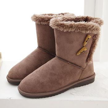《DOOK》雪靴-經典牛角扣+絨毛滾邊保暖短靴-可可色