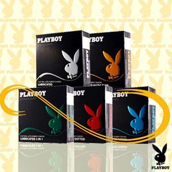 PLAYBOY花花公子保險套綜合包-三合一/顆粒/螺紋/潤滑/超薄3入裝/五盒