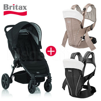 Britax-B-Agile單手收四輪手推車(黑)+省力多功能背巾(二色)