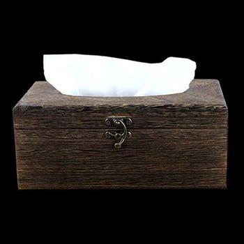 PUSH! 居家生活用品 復古自然風 紙巾盒 面紙盒 衛生紙抽取收納盒I06