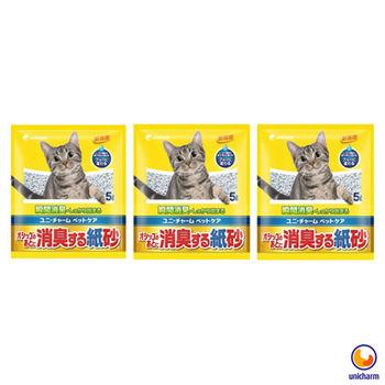【Unicharm】日本消臭大師 消臭紙砂 無香味 5L X 3包入