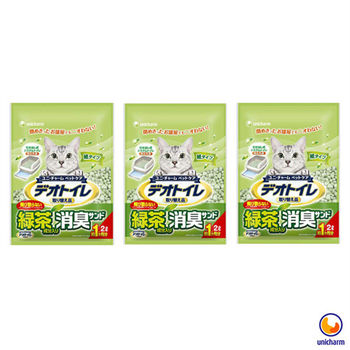 【Unicharm】日本消臭大師 一月間消臭抗菌綠茶紙砂 2L X 3包入