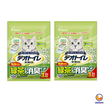 【Unicharm】日本消臭大師 一月間消臭抗菌綠茶紙砂 2L X 2包入