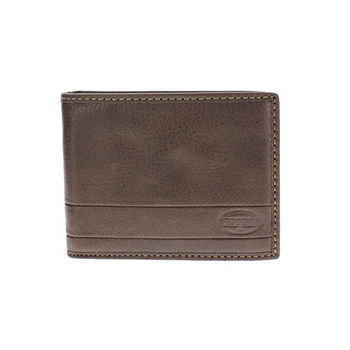 【FOSSIL】 真皮LOGO壓紋超軟手感 短夾 零錢袋皮夾 【深棕】