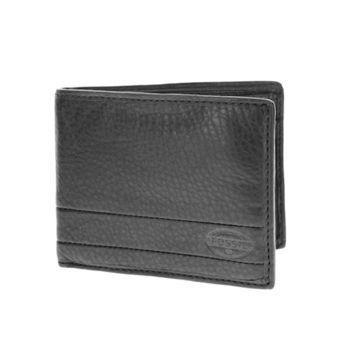 【FOSSIL】 真皮LOGO壓紋超軟手感 短夾 零錢袋皮夾 【黑】