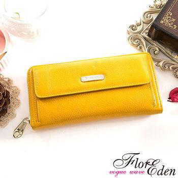 DF Flor Eden皮夾 - 甜心魅力款牛皮單拉鍊長夾