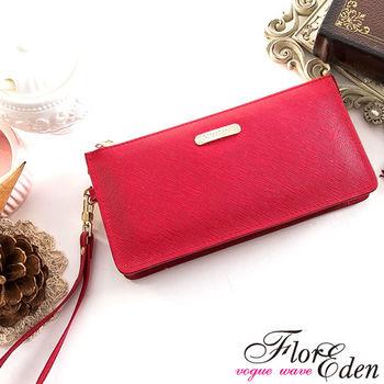 DF Flor Eden皮夾 - 都會女性牛皮款十字紋單拉鍊手拿式長夾