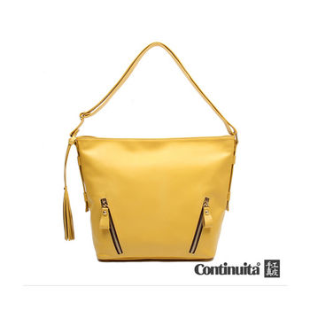 【Continuita 康緹尼】台灣手工真皮包 時尚小牛皮流蘇水桶包 (黃色)