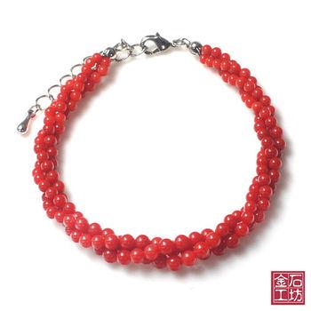 【金石工坊】天然圓滿喜氣紅珊瑚手鍊
