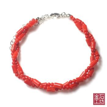 【金石工坊】天然沙丁珊瑚富貴手鍊2條轉