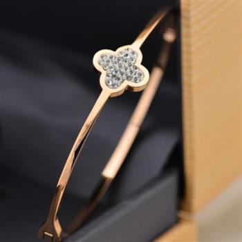 【米蘭精品】玫瑰金鑲鑽純銀手環精美小花飾品