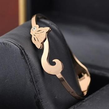 【米蘭精品】玫瑰金鑲鑽純銀手環精美磨砂狐狸飾品
