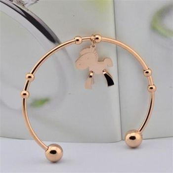 【米蘭精品】玫瑰金純銀手環可愛立體小馬飾品