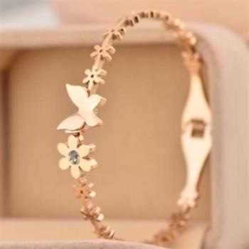 【米蘭精品】玫瑰金鑲鑽純銀手環精美蝴蝶花圈飾品
