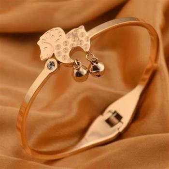 【米蘭精品】玫瑰金鑲鑽純銀手環銅錢小羊鈴鐺可愛飾品