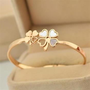 【米蘭精品】玫瑰金貝殼純銀手環幸運草飾品