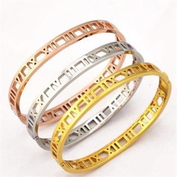 【米蘭精品】玫瑰金純銀手環鏤空羅馬數字精選飾品