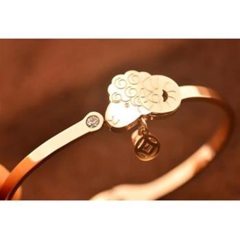 【米蘭精品】玫瑰金鑲鑽純銀手環招財小羊飾品