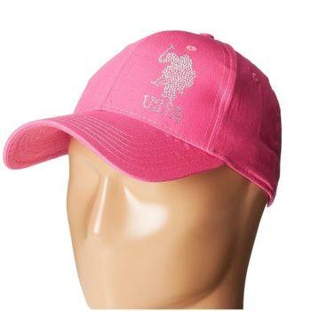 US Polo 2015男女時尚大馬球水鑽標誌粉紅色棒球帽(預購)