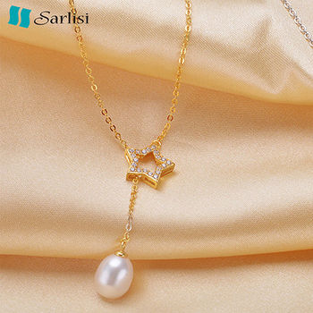 【Sarlisi】閃耀星星純銀珍珠項鍊(金色、銀色)
