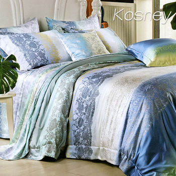 【KOSNEY】喜晴愛情  雙人100%天絲TENCE六件式兩用被床罩組