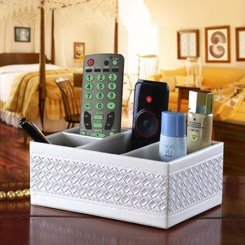 【幸福揚邑】精品編織格紋皮革遙控器化妝品飾品桌面收納盒-經典白