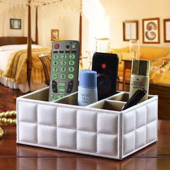 【幸福揚邑】精品歐式方格紋皮革遙控器化妝品飾品桌面收納盒-經典白