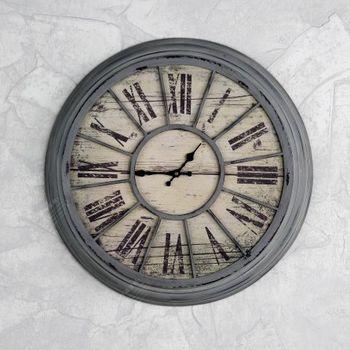 【協貿】復古鄉村木質圓形創意壁鐘靜音裝飾