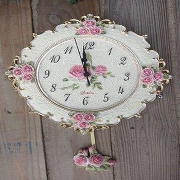 【協貿】地中海田園風玫瑰小碎花浮雕鏤空手繪靜音擺掛鐘