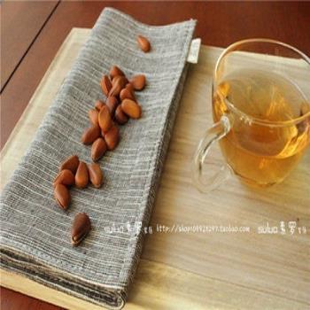 【協貿】田園素色條紋手工棉麻咖啡色布藝餐墊
