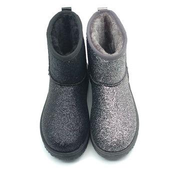 【cher美鞋】 閃耀拼接雪靴 (黑 銀2色)1206-125