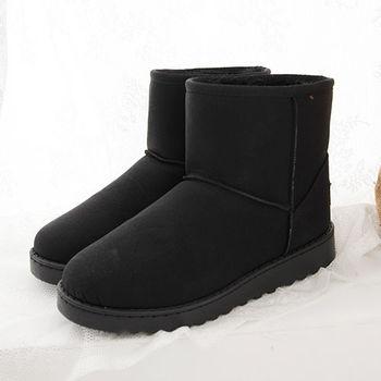 《DOOK》雪靴-質感厚底絨毛內裡保暖短靴-黑色