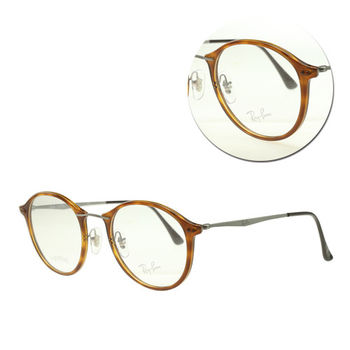 【Ray Ban】輕薄款-圓框琥珀銀色光學眼鏡(RB7073-5588)