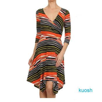 【Kuosh】美國進口條紋圖騰不規則洋裝NW-5011