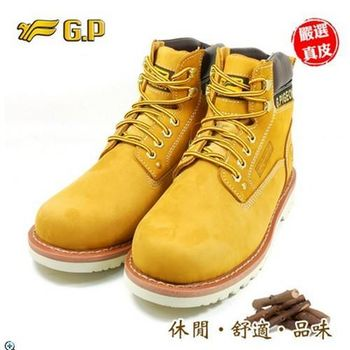 【G.P 男牛皮休閒鞋】P9591-33(39-44尺碼 黃色 共三色)