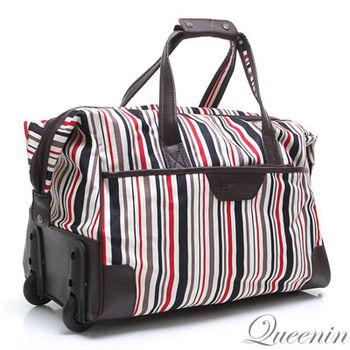 DF Queenin日韓 - 中性休閒附滾輪設計拉桿旅行包-共3色