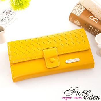 DF Flor Eden皮夾 - 巴黎簡約系列羊皮編織款兩折式長夾