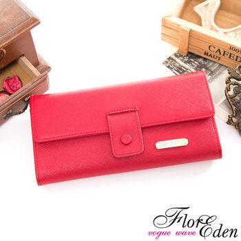 DF Flor Eden皮夾 - 都會女性牛皮款十字紋舌扣兩折式長夾