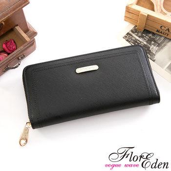 DF Flor Eden皮夾 - 都會女性牛皮款十字紋單拉鍊長夾