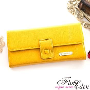 DF Flor Eden皮夾 - 甜心魅力款牛皮舌扣兩折式長夾