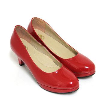 【Pretty】人氣款漆皮素面防水台高跟鞋-紅色
